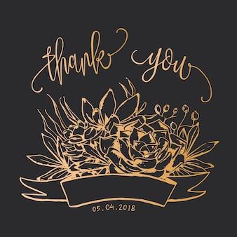 Carte de remerciement de dessin d'or succulent