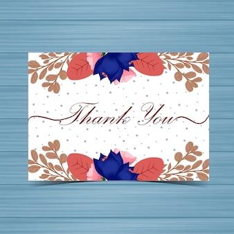 Carte de remerciement avec des fleurs d'automne