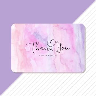 Carte de remerciement avec fond aquarelle abstraite pastel