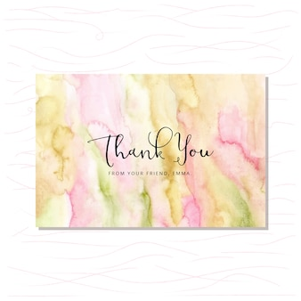 Carte de remerciement avec fond aquarelle vert rose