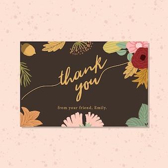 Carte de remerciement avec fond floral d'automne