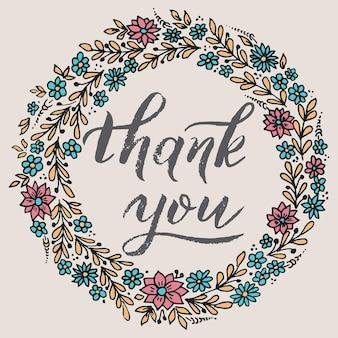 Carte de remerciement avec fond floral. fond floral fleuri élégant. fond floral et éléments floraux élégants. modèle de conception.