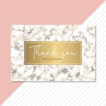 Carte de remerciement avec fond en marbre or noir