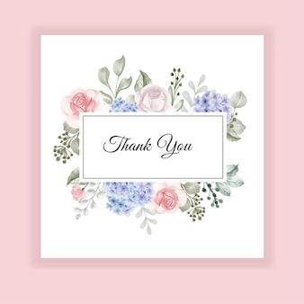 Carte de remerciement hortensia bleu et rose