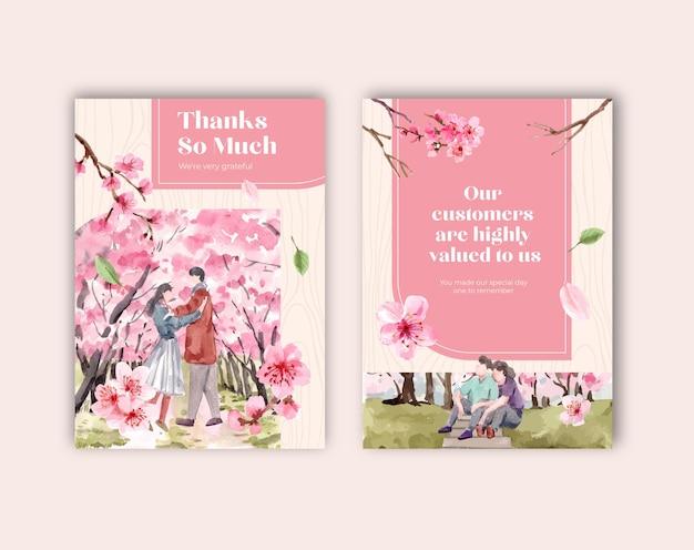 Carte de remerciement avec illustration aquarelle de conception de concept de fleur de cerisier