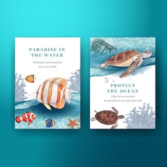 Carte de remerciement avec illustration aquarelle de conception de concept de vie de mer