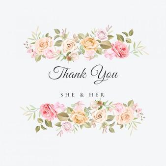 Carte de remerciement mariage avec beau modèle floral