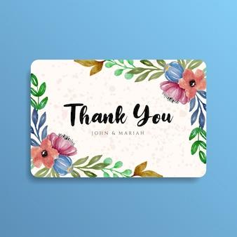 Carte de remerciement, motif floral aquarelle