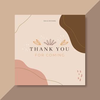 Carte de remerciement rose pâle