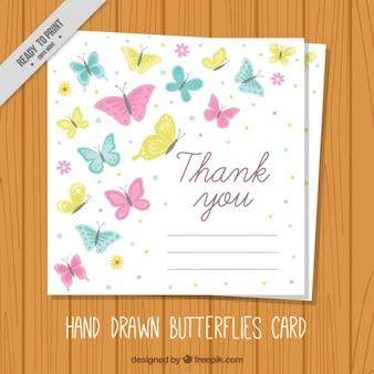 Carte de remerciements mignon avec des papillons