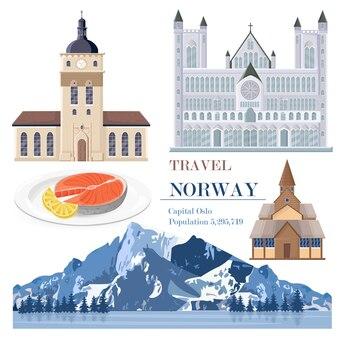 Carte de repères de voyage de la norvège