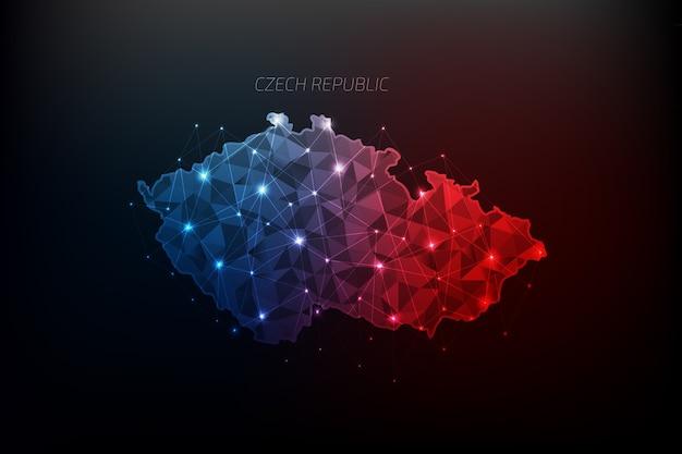 Carte de la république tchèque polygonale avec des lumières rougeoyantes et une ligne