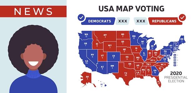 Carte des résultats de l'élection présidentielle aux états-unis.