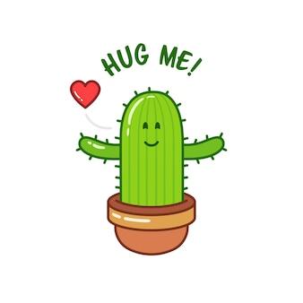 Carte romantique inspirante. illustration mignonne dessinée à la main. cactus de dessin animé avec texte. hug me.