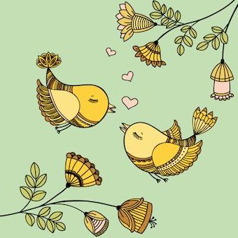 Carte romantique avec des oiseaux volants amoureux.