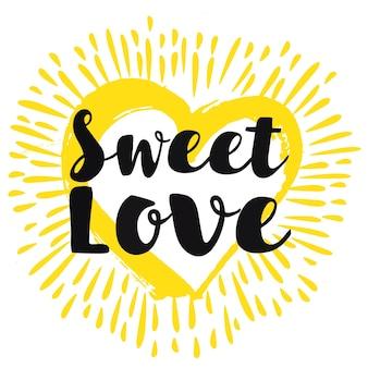 Carte romantique de soleil avec message design d'amour doux
