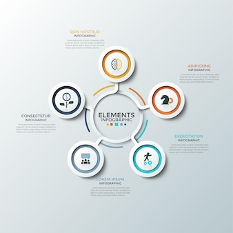 Carte ronde. cinq éléments circulaires blancs en papier avec des cadres colorés et des symboles plats à l'intérieur placés autour du centre. concept de 5 options d'affaires. modèle de conception infographique. illustration vectorielle