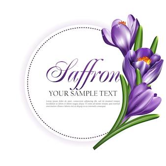 Carte ronde d'étiquette ou invitation avec des fleurs de safran