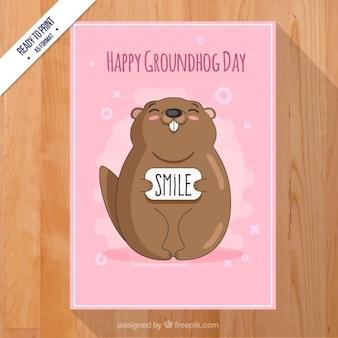 Carte rose de jour de la marmotte