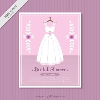 Carte rose avec robe de mariée