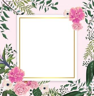 Carte avec des roses tropicales et des fleurs avec des feuilles de branches