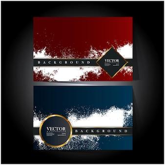 Carte rouge et bleue avec double bordure et éclaboussures blanches
