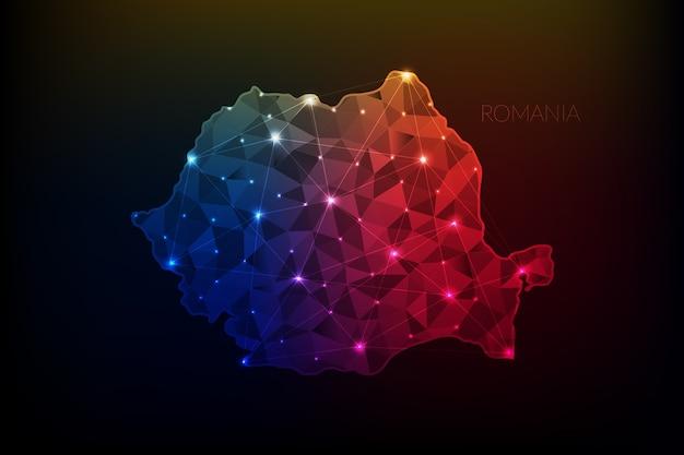 Carte de la roumanie polygonale avec des lumières rougeoyantes et ligne