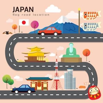 Carte routière et itinéraire de voyage au japon