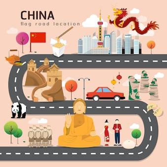 Carte routière et itinéraire de voyage en chine
