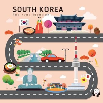 Carte routière et itinéraire de voyage en corée du sud