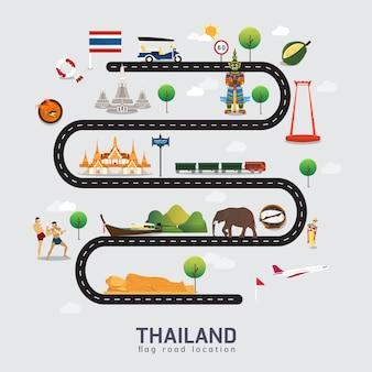 Carte routière et itinéraire de voyage en thaïlande
