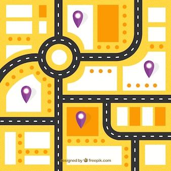 Carte routière avec des pointeurs dans le style plat