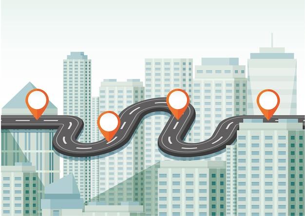 Carte routière de la ville avec de nombreux bâtiments