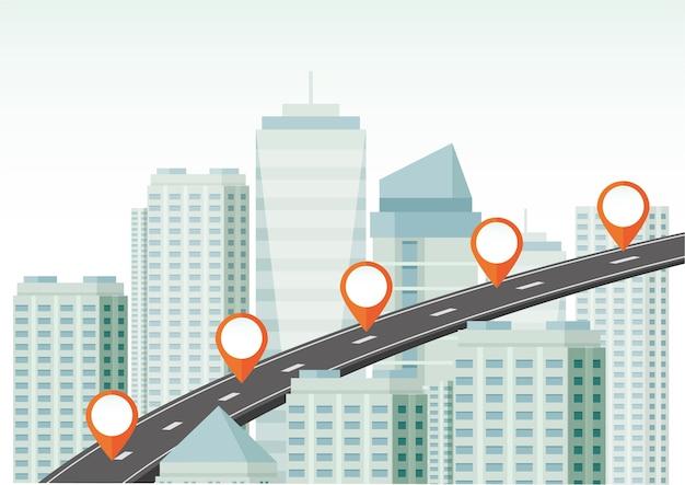 Carte routière de la ville avec le pointeur