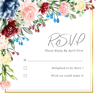Carte de rsvp illustration cadre floral aquarelle