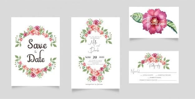 Carte de rsvp d'invitation de mariage de fleurs d'aquarelle