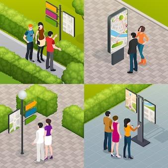 Carte de rue de touristes 4 icônes