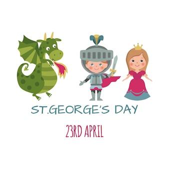 Carte de la saint-georges avec chevalier dragon et princesse