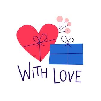 Carte de saint valentin. avec amour. citation romantique avec coffrets cadeaux.