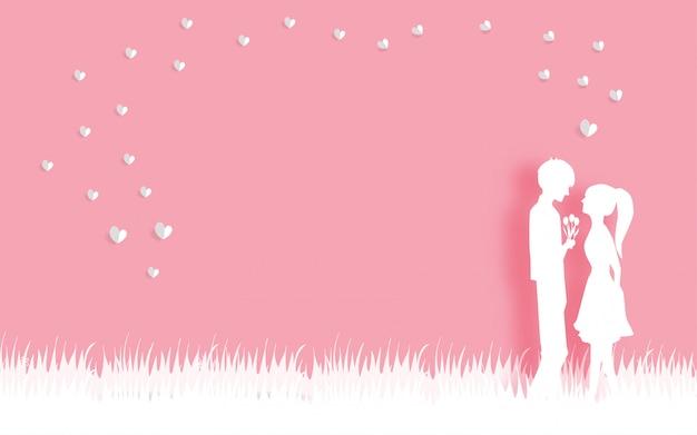 Carte de saint valentin avec amour couple en papier coupé illustration vectorielle de style.