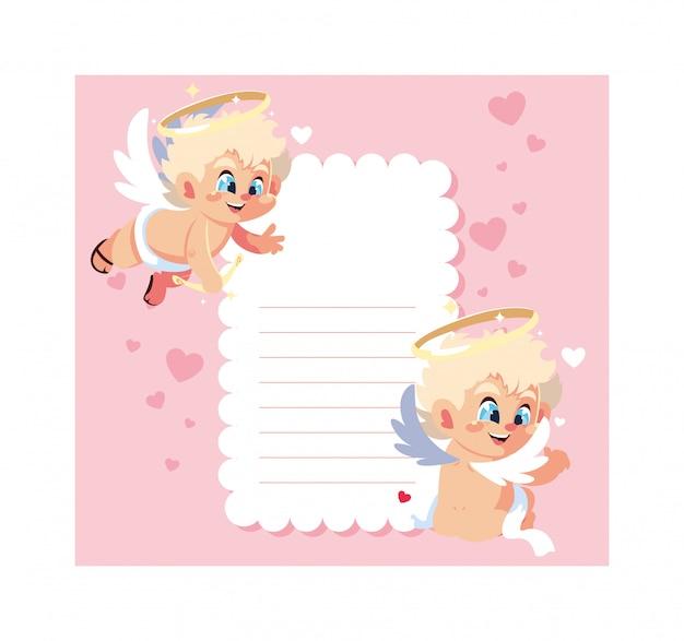 Carte saint valentin avec des anges cupidon, feuille à écrire