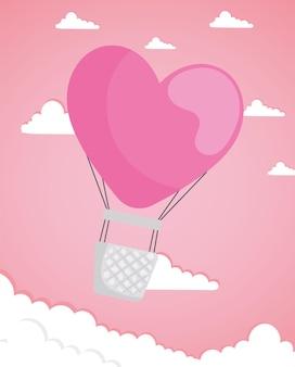 Carte de saint valentin avec ballon air chaud en forme de coeur