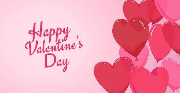 Carte de la saint-valentin avec des ballons en forme de coeur