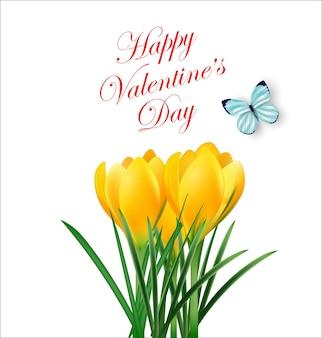 Carte de saint valentin beau bouquet de crocus de fleurs de printempsfond de printemps