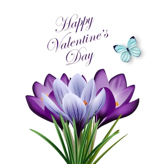 Carte de saint valentin beau bouquet de crocus de fleurs de printempsvecteur de fond de printemps