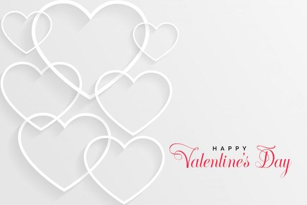 Carte de saint valentin blanche avec coeurs de ligne