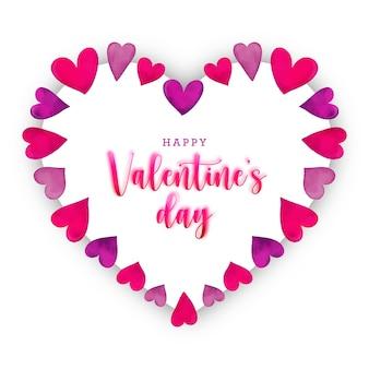 Carte de saint valentin avec cadre coeurs roses aquarelle