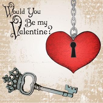 Carte saint-valentin avec un coeur et clé antique