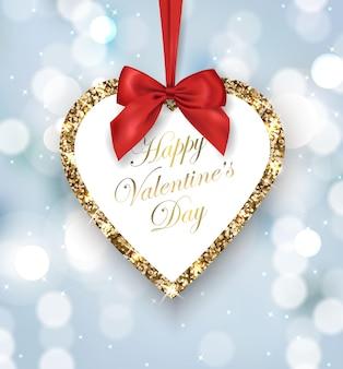 Carte de saint valentin coeur doré scintillant avec un arc rouge sur fond flou modèle vectoriel