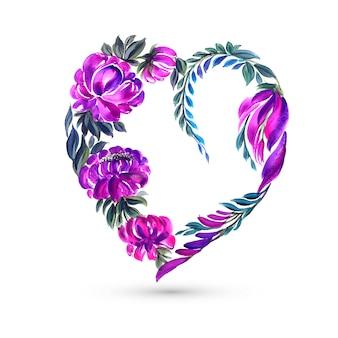 Carte de saint valentin avec coeur fleur coloré